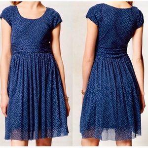 Anthropologie Weston Blue Polka Dot Balare Dress